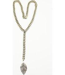 collar cadena pluma plateado humana