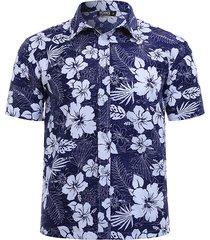 hombres casual floral classic camiseta con cuello y botones