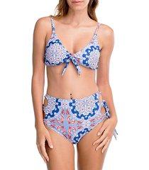two-piece paisley-print bikini set