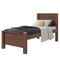 cama de solteiro athenas imbuia naturale móveis lopas marrom