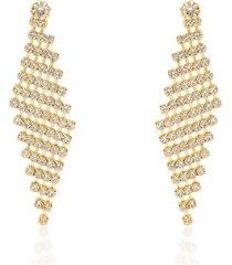 orecchini pendenti dorati e strass multifilo per donna