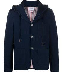 thom browne hooded seersucker blazer - blue