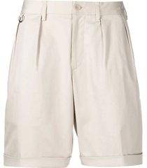 neil barrett cream stretch-cotton chino shorts