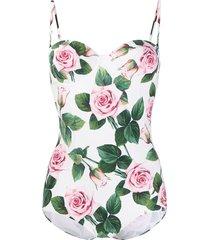 dolce & gabbana rose print swimsuit - white