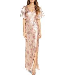 women's marchesa notte flutter sleeve sequin a-line gown