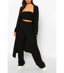 3-delige duster jas, bandeau en broek set, zwart
