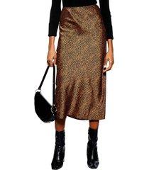 women's topshop animal spot midi skirt, size 10 us (fits like 10-12) - metallic