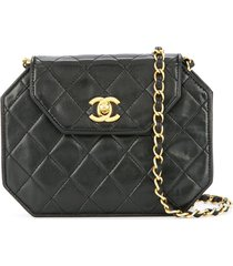 chanel pre-owned quilted cc single chain shoulder bag - black