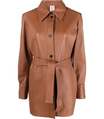 l'autre chose short belted coat - brown