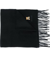 moschino logo-embroidered fringed scarf - black