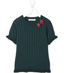 familiar ribbed knit short ruffle sleeve top - green