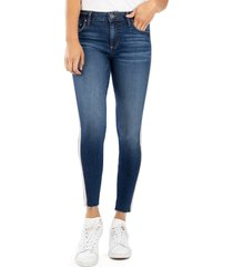 women's kut from the kloth donna high waist ribbon stripe ankle skinny jeans, size 00 - blue
