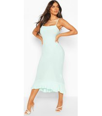 strappy cowl neck dress with fishtail hem, mint