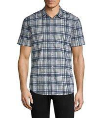grid-plaid short-sleeve shirt