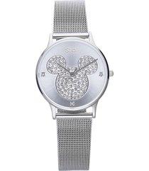 orologio solo tempo con cinturino maglia milanese e cassa in acciaio silver, quadrante con topolino con strass per donna
