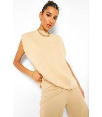 sleeveless shoulder pad sweater, stone