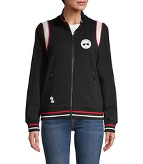 logo patch stand collar jacket