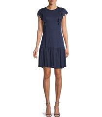 rebecca taylor women's eyelet-sleeve dress - grey - size s