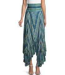 plaid-print high-waist skirt