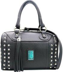 bolso de cuero negro leblu baúl