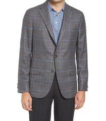 men's big & tall hickey freeman classic fit plaid wool & silk sport coat, size 50 regular - grey
