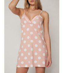 pyjama's / nachthemden admas roze zomer stippen babydoll