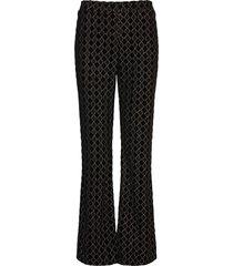 andy, 1030 jersey lurex burnout broek met wijde pijpen zwart stine goya
