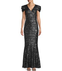 puff-sleeve sequin trumpet gown