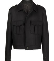 amiri cadet wool-cashmere blend cropped jacket - black