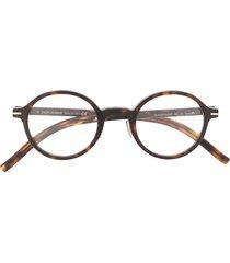 dior eyewear black tie round glasses - brown