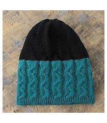 alpaca blend hat, 'turquoise flow' (peru)