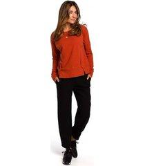 blouse style s180 pullover-trui met split aan de zoom - gember