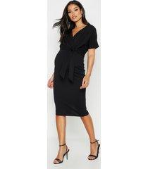 maternity wrap tie waist midi bodycon dress, black