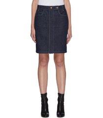 rainbow stitch denim mini skirt