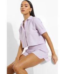 korte geweven gingham blouse, lilac