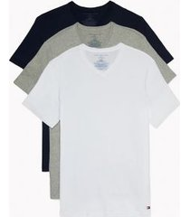 tommy hilfiger men's cotton classics v-neck undershirt 3pk grey/white/black - l
