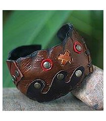 leather cuff bracelet, 'tic tac toe' (thailand)