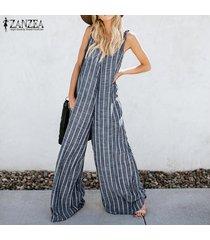 zanzea verano de las mujeres harem pantalones bib cargo ocasional rayada dungaree trajes -azul