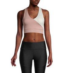 all fenix women's gigi colorblock sports bra - tan cream - size l