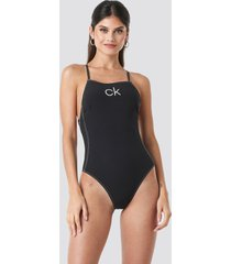 calvin klein apron one piece swimsuit - black