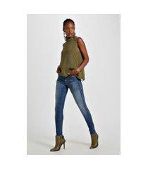 calca basic skinny midi lateral desmanch jeans - 44