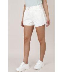 short de sarja feminino clochard com cinto e pochete barra desfiada off white