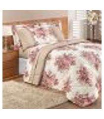 edredom king size rosê floral 3 peças clássico 2,80m x 2,60m com porta travesseiros