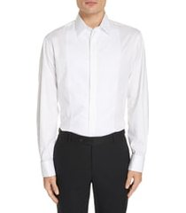emporio armani slim fit stretch tuxedo shirt, size 16.5 in solid white at nordstrom