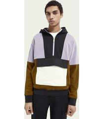 scotch & soda katoenen hoodie met colourblock en halve rits