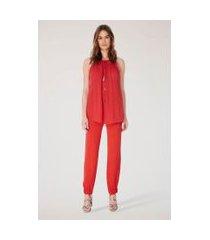 blusa de georgette com alcinha rolotê e decote profundo lisa camélia vermelho madri - 42