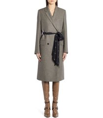 women's fendi logo belt wool coat, size 10 us - grey
