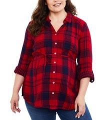 motherhood maternity plus size plaid button-front shirt