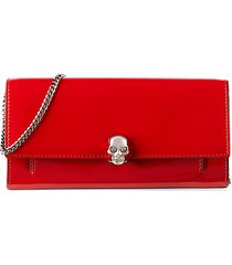 skull patent leather wallet-on-chain