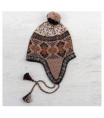 100% alpaca chullo hat, 'andean patterns' (peru)